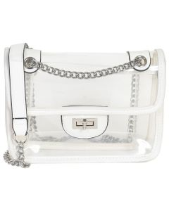 Transparent Bag with Chain Details - White